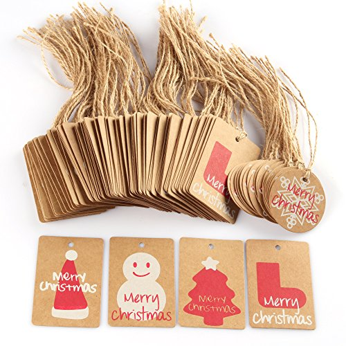 Coogam 100 Pack Brown Kraft Paper Christmas Gift Tags with Twine String Tie on Smooth for Writing - 5 Designs for DIY Holiday Xmas Present Wrap Stamp and Label Package Name Card