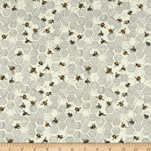 Fabri-Quilt Paintbrush Studio Bee Kind Bees & Honeycombs Fabric, Ecru, Fabric By The Yard