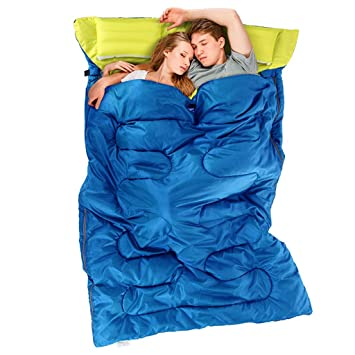 Guo Bolsa de dormir para dos personas Bolsa para camping al aire libre para adultos (Color : Azul): Amazon.es: Deportes y aire libre