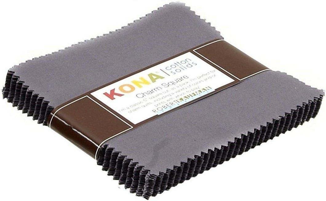 Kona Cotton Solids 2.5 Inch Squares 2 Mini Charm Packs Black Robert Kaufman