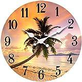 "Palm Tree Sunset Wood Wall ClockNew 13""X 13"" Home Wall Decor Coastal Beach"
