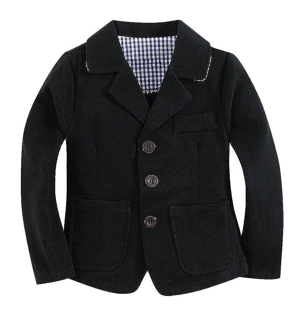 Sweety Baby Boys Solid Color 3 Button Turndown Collar 2 Pocket Cotton Blazer