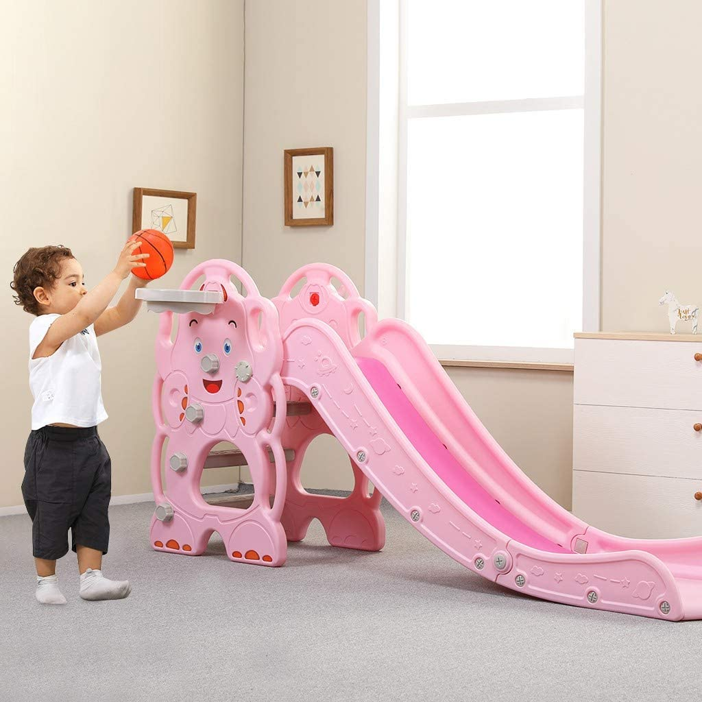 Easy Climb Stairs Kids Slide with Basketball Hoop Children Toy Playset with Basketball Hoop for Outside Games Sturdy Toddler Playground Slipping Slide Climber for Indoor Outdoors Use