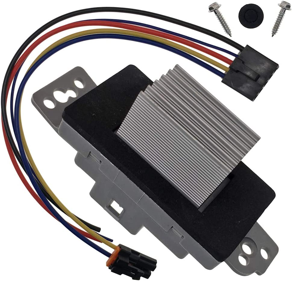 HVAC Fan Blower Motor Resistor Kit With Harness 1581773 89018778 RU-631 19260762 Replacement for Chevy Silverado Tahoe Trailblazer Suburban Avalanche GMC Sierra Envoy Yukon Buick Cadillac Escalade