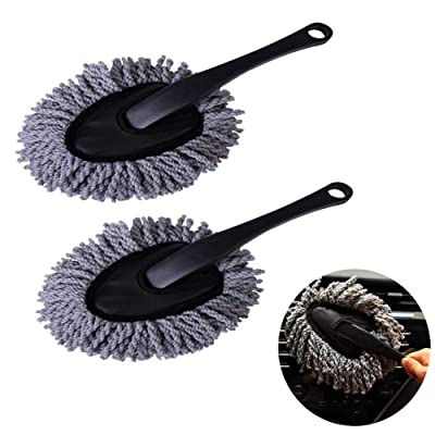 Emoly 2 Pack Super Soft Multi-Functional Car Dash Duster Interior & Exterior Cleaning Dirt Dust Clean Brush Dusting Tool Mop Gray Car Cleaning Products Tool (Gray): Electronics