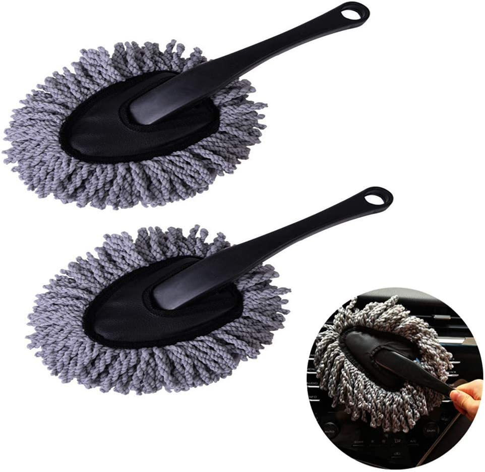 Emoly 2 Pack Super Soft Multi-Functional Car Dash Duster Interior & Exterior Cleaning Dirt Dust Clean Brush Dusting Tool Mop Gray Car Cleaning Products Tool (Gray)