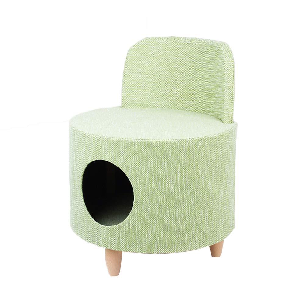 Green YANGYONGLI Pet Bed Dog Beds Sleeping Bag Cat Beds Pet House Stool Cushion Wood Semi-Closed Round,green