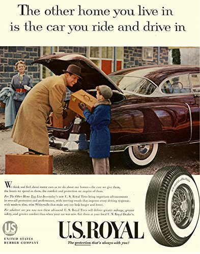Us Rubber Company (1954 US ROYAL TIRES with CADILLAC COUPE DE VILLE LARGE VINTAGE COLOR AD - USA - GREAT ORIGINAL !!)