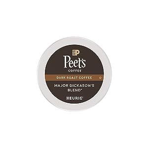 Peet's Coffee Major Dickason's Blend, Dark Roast, 16 Count Single Serve K-Cup Coffee Pods for Keurig Coffee Maker