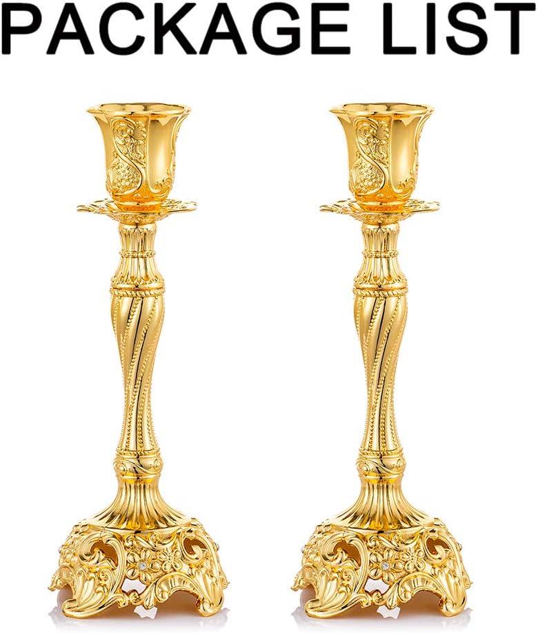Sziqiqi Lot de 2 Bougeoirs Chandeliers Cand/élabres en Argent/é M/étal Decoration Argent/é Vintage Bougeoir de D/écoration de Table Mariage