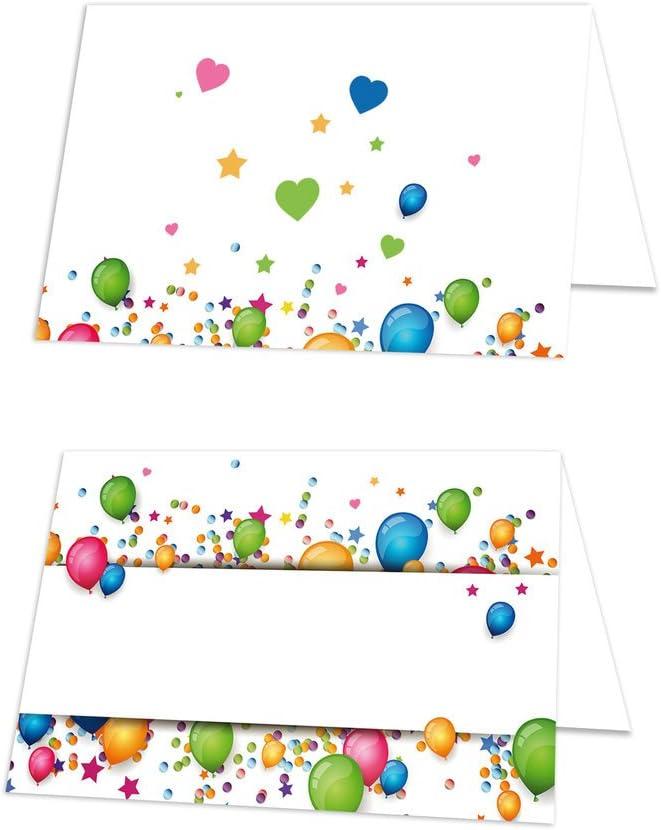 mit jedem Stift beschreibbar! 100 St/ück kleine blau rot gelb gr/ün bunte LUFT-BALLON Kinder Tischkarten Geburtstag Schulanfang Namens-Schilder Namens-K/ärtchen kleine Sitzkarten Platzkarten