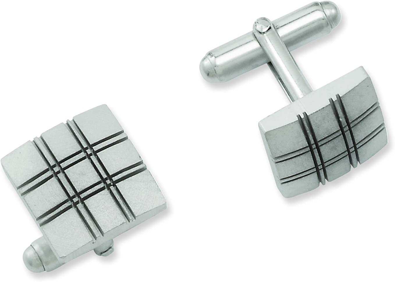 Length : 14 mm; Width :14 mm Diamond2Deal Rhodium-Plated Kelly Waters Square Double Lines Cuff Links