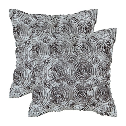 CaliTime Pack of 2 Cushion Covers Throw Pillow Cases Shells for Couch Sofa Home, Solid Stereo Roses Floral, 18 X 18 Inches, - Stereo Pack