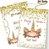 FRONT 24 Unicorn Invitations Large Set Giltter Unicorn Face with 24 Envelopes Double Sided