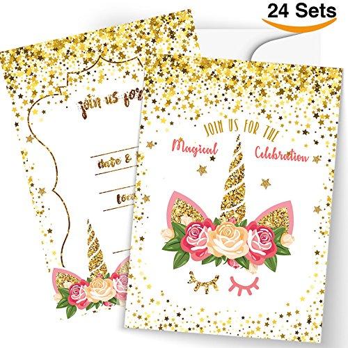 24 Unicorn Invitations Large Set Giltter Unicorn Face with 24 Envelopes Double (Unicorn Invitations)