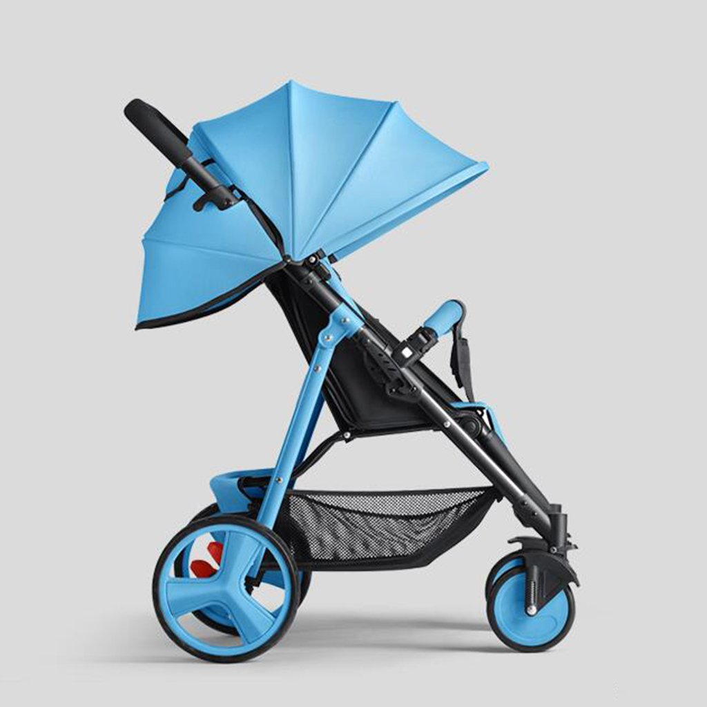 HAIZHEN マウンテンバイク ベビーカートは座る/折り畳むことができるポータブルトロリーカラースチールフレームを調整したサンシェード日焼け止めアンチUVショック吸収タイヤショッピングバス付きベビーキャリッジ 新生児 B07DL9C82K青