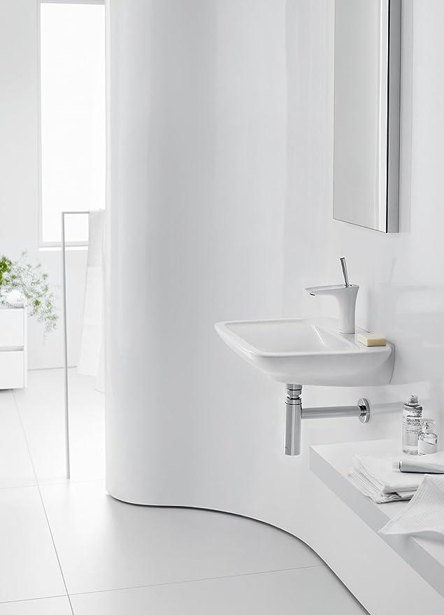 Hansgrohe Mitigeur de Lavabo Design PuraVida 110 sous Bec Finition Blanc//Chrom/é avec Bonde de Vidage 15070400