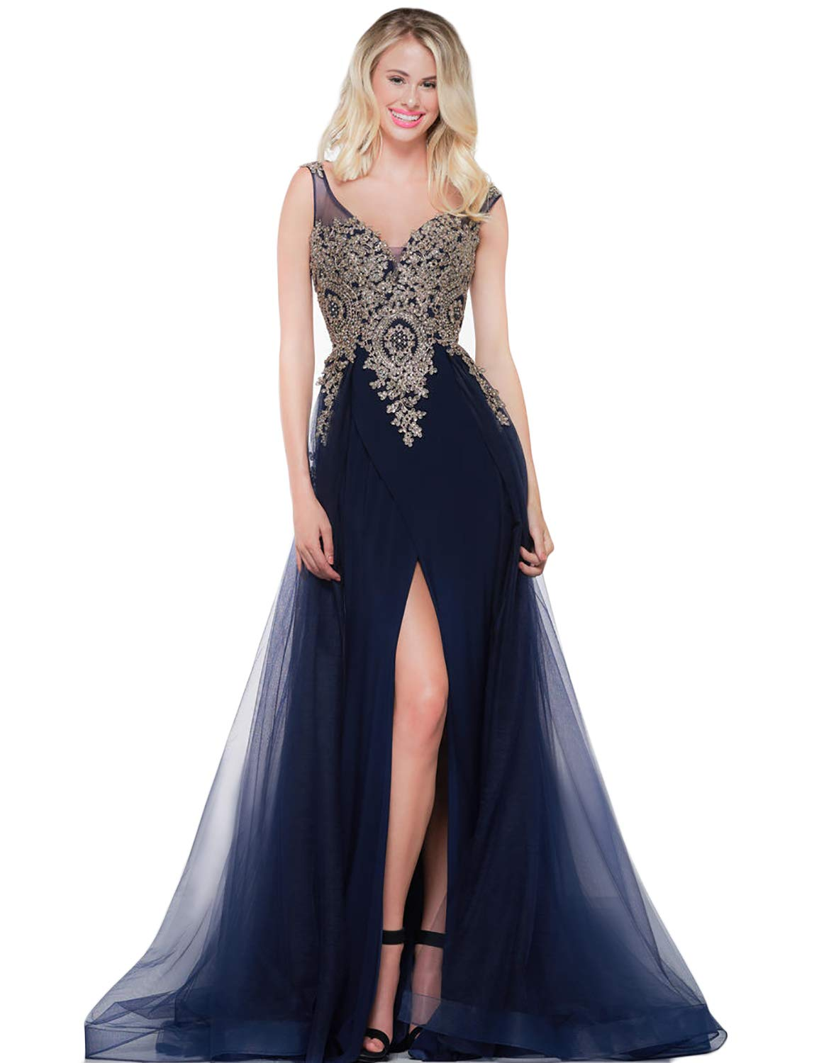 A Line V Neck Appliqued Long Plus Size Evening Dresses for Women Christmas  Party Gown Empire Waist Split Side Prom Dresses 2019 Womens Skirts MSH054  ...