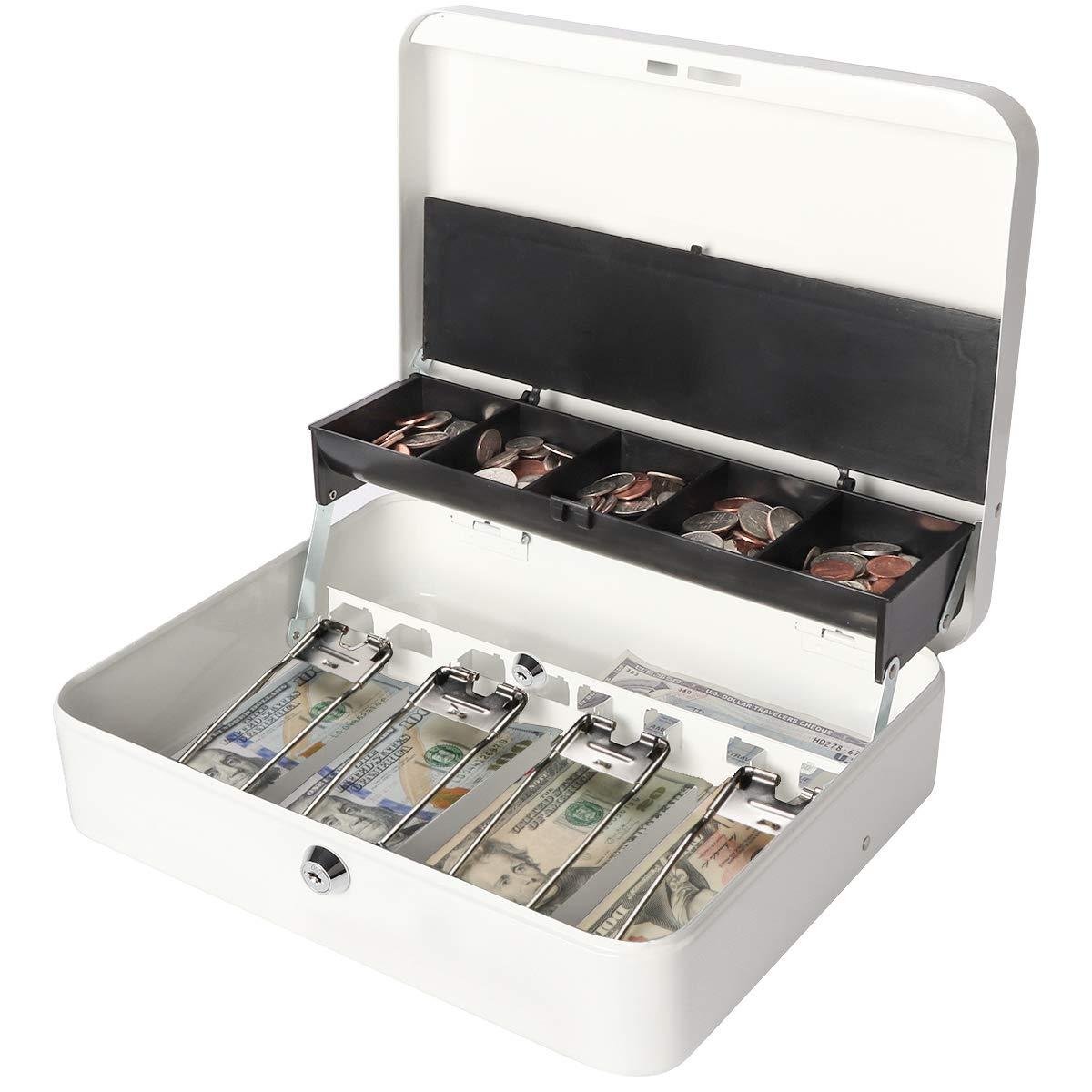 Jssmst Locking Large Metal Cash Box with Money Tray, Money Box with Key Lock, White, SM-CB0504L by Jssmst