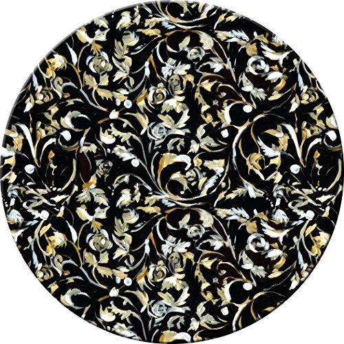 (Hadley Table Leaves on Black Hard Placemats, ROUND, SET OF 4)