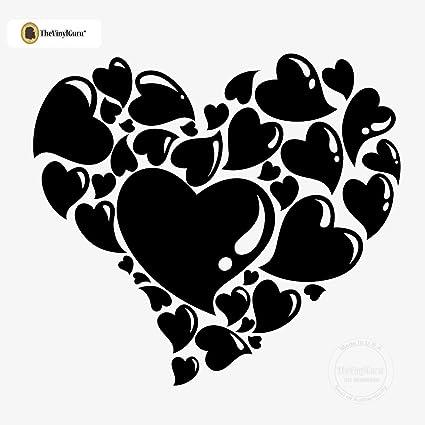 Black heart decal stickers Valentine heart Vinyl hearts