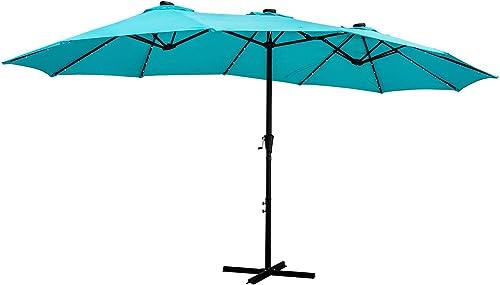 Wonlink 15 Ft Solar LED Patio Double-Sided Umbrella Table Umbrella