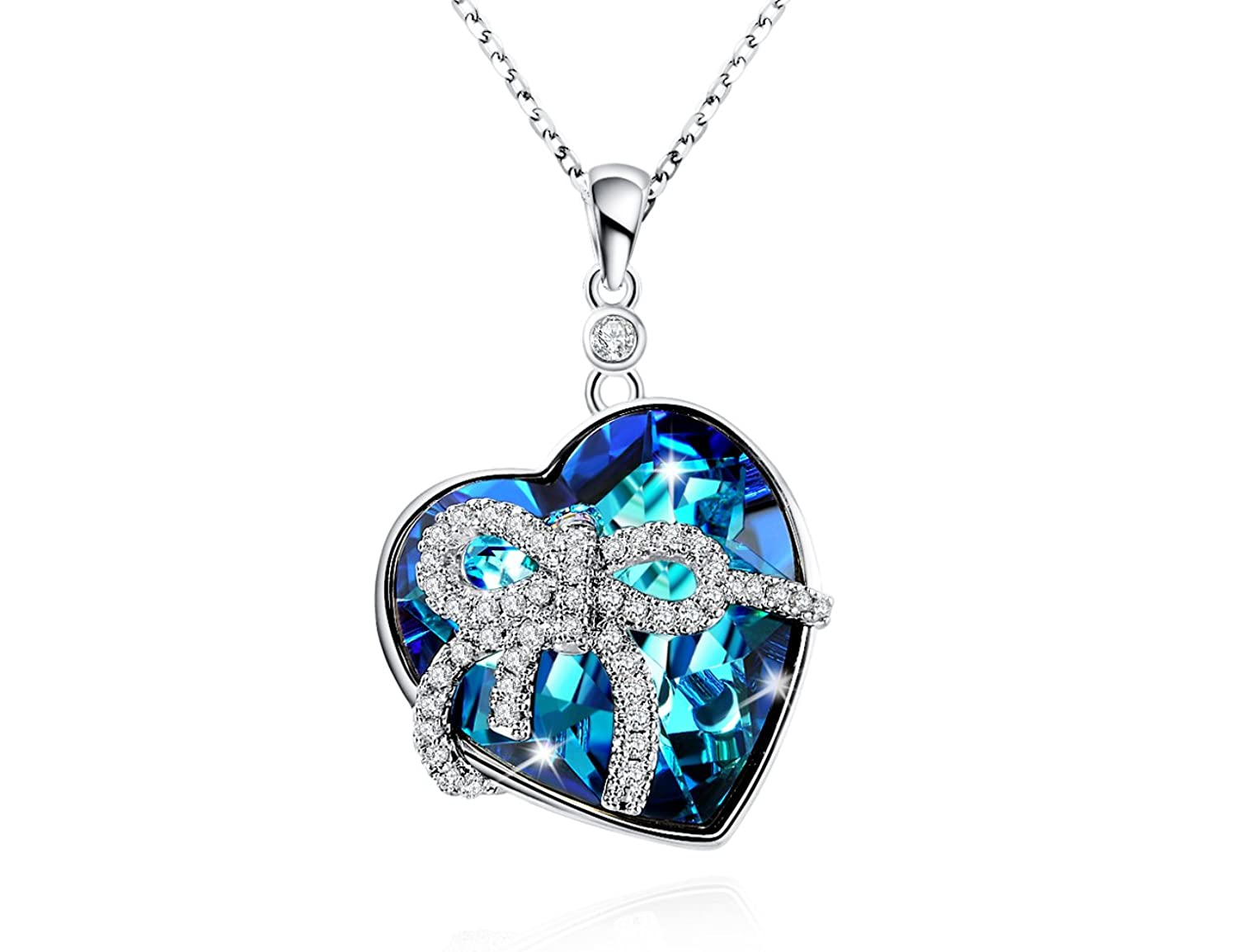"""""""Sweet Heart""""Sterling Silver Necklace 16""""-18"""" Blue Crystal AAA Zirconia Bowknot Pendant"""