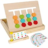 Montessori Learning Toys Slide Puzzle Color & Shape Matching Brain TeasersLogic Game Preschool Educational Wooden Toys for K