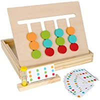 Montessori Learning Toys Slide Puzzle Color & Shape Matching Brain Teasers Logic Game Preschool Educational Wooden Toys…