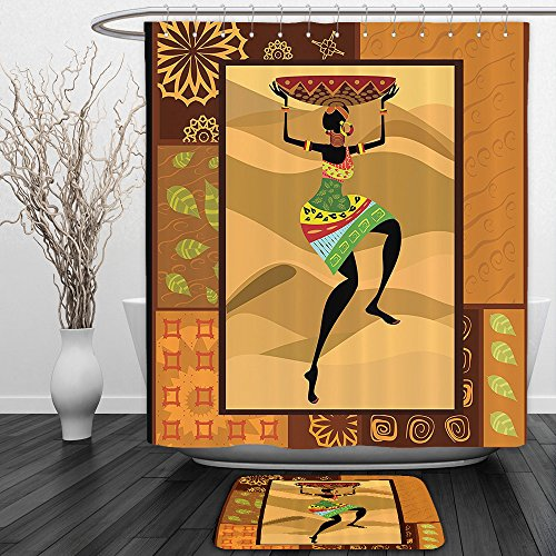 Ginger Rod Shower (vipsung Shower Curtain and Ground MatAfro Decor by Ethnic Pattern with Traditional Tribal Boho Elements Exotic Zulu Woman Print Decor Ginger BrownShower Curtain Set with Bath Mats Rugs)