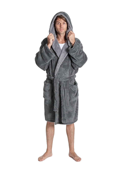 PIERRE ROCHE Mens Gents Snuggle Fleece Dressing Gown Robe Hooded ...