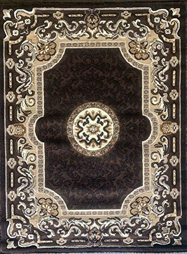 (Kingdom Traditional Persian Area Rug Chocolate Brown Design D123 (5 Feet 2 Inch X 7 Feet))