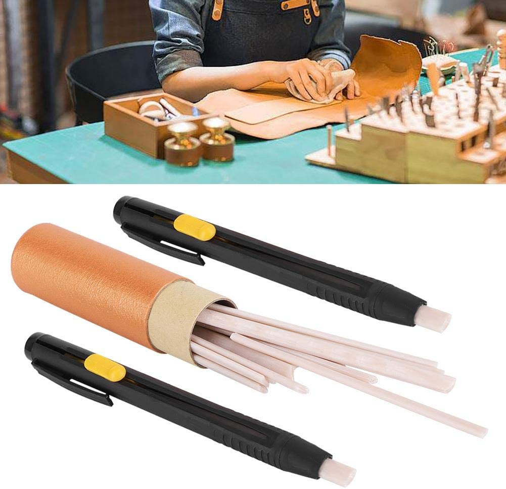 2pcs Pen Shells and 20 Wax Refill Auto Vanishing Leather Fabric Marker Disappear Pens Arts Crafts Tracing Tools Tailors Chalk