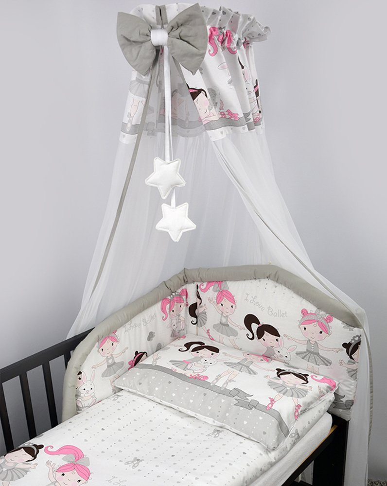 10 Piece Cot Bedding Set with Safety Padded Bumper (Fits Cot Bed 140x70 cm, Pattern 14) BabyComfort