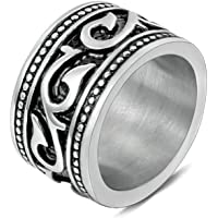 Aooaz Jewelry Stainless Steel Ring Band Vine Leaves Thumb Ring Punk Rock Ring for Men