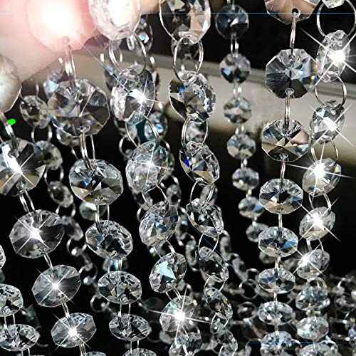 XGpie 16.4Ft Clear Crystal Glass Beads Lamp Chain Chandelier Decoration for Wedding Home and DIY Craft Jewelry Making ()