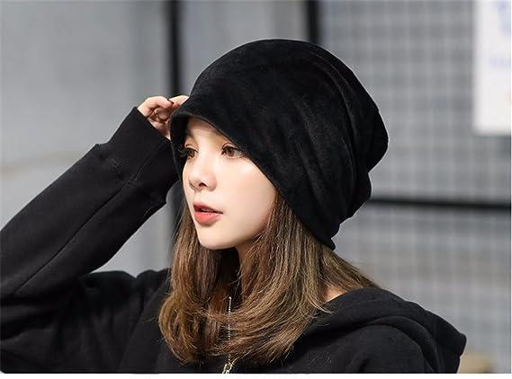 19c98c9b UbdehL Women's Velvet Beanies Winter Korean Fashion Hats Black One Size  Fits Most at Amazon Women's Clothing store: