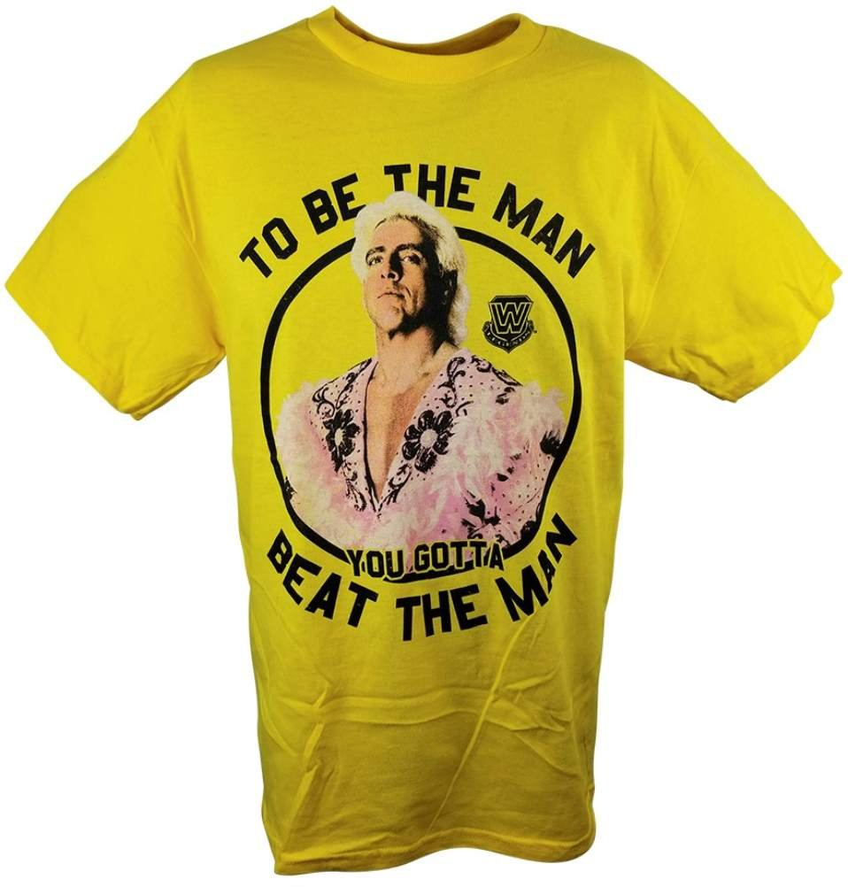 Freeze Ric Flair To Be The Man You Gotta Beat The Man WWE Mens Yellow T-Shirt -L
