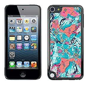 Pulsar Snap-on Series Teléfono Carcasa Funda Case Caso para Apple iPod Touch 5 , Trullo floral abstracta púrpura Pintura""