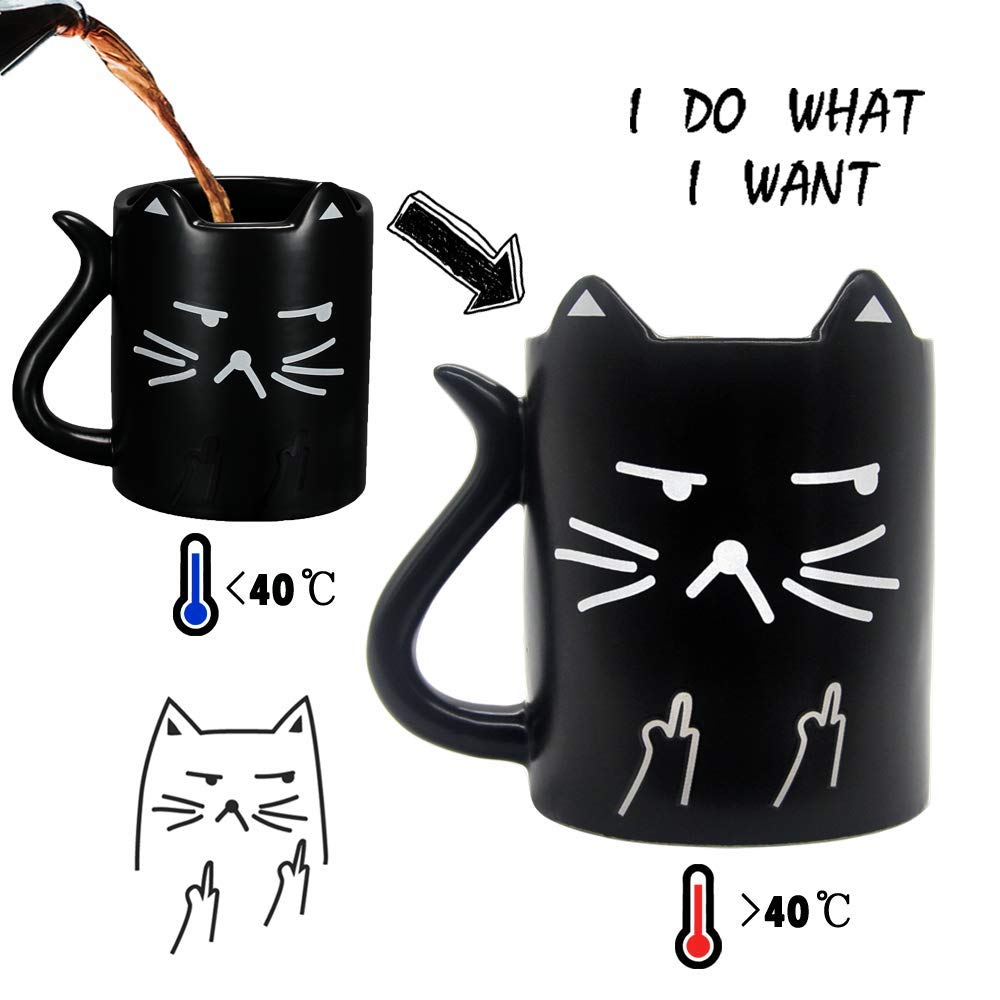 Cat mug, Funny Mug with quotes ''I do what I want'', heat sensitive coffee mug, middle finger color changing cup, Cat tail handle, Perfect gift option, Onebttl-NEKO