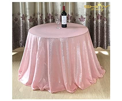 Tablecloths 156Inch Baby Pink Round Linen Tablecloth Pink Sequin Fabric  Table Skirt ~0919S