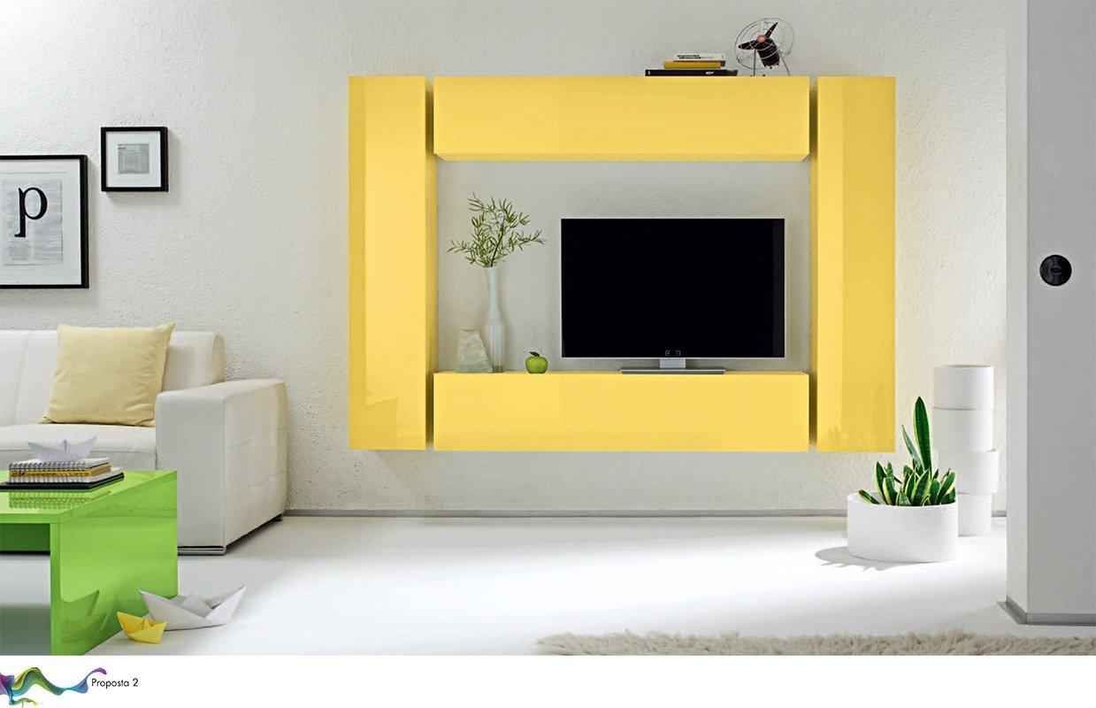box 2 a giallo lucido parete attrezzata soggiorno moderna porta tv ... - Soggiorno Pareti Gialle 2