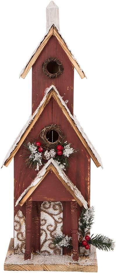 Glitzhome 23 H Oversized Hand Painted Wooden Church Bird House Garden Birdhouse For Outside Christmas Outdoor Decorations Garden Outdoor Amazon Com