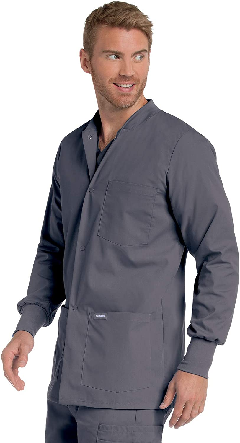 Landau Mens Premium 4-Pocket Classic Fit Warm-Up Medical Scrub Jacket