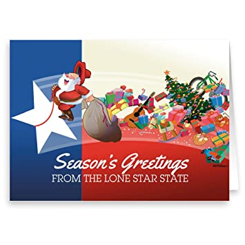 Texas Christmas Cards.Texas Flag And Santa Christmas Card 18 Cards 19 Envelopes