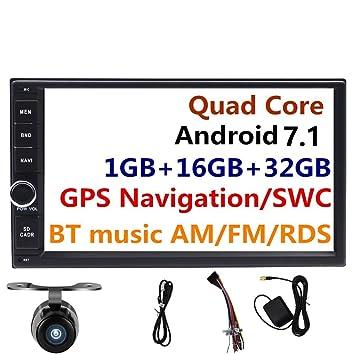 7 pulgadas 2 Din Android 7.1 estéreo de coche GPS navegación cabeza unidades AM/FM/RDS Radio reproductor multimedia inteligente apoyo bt WiFi Cámara de ...