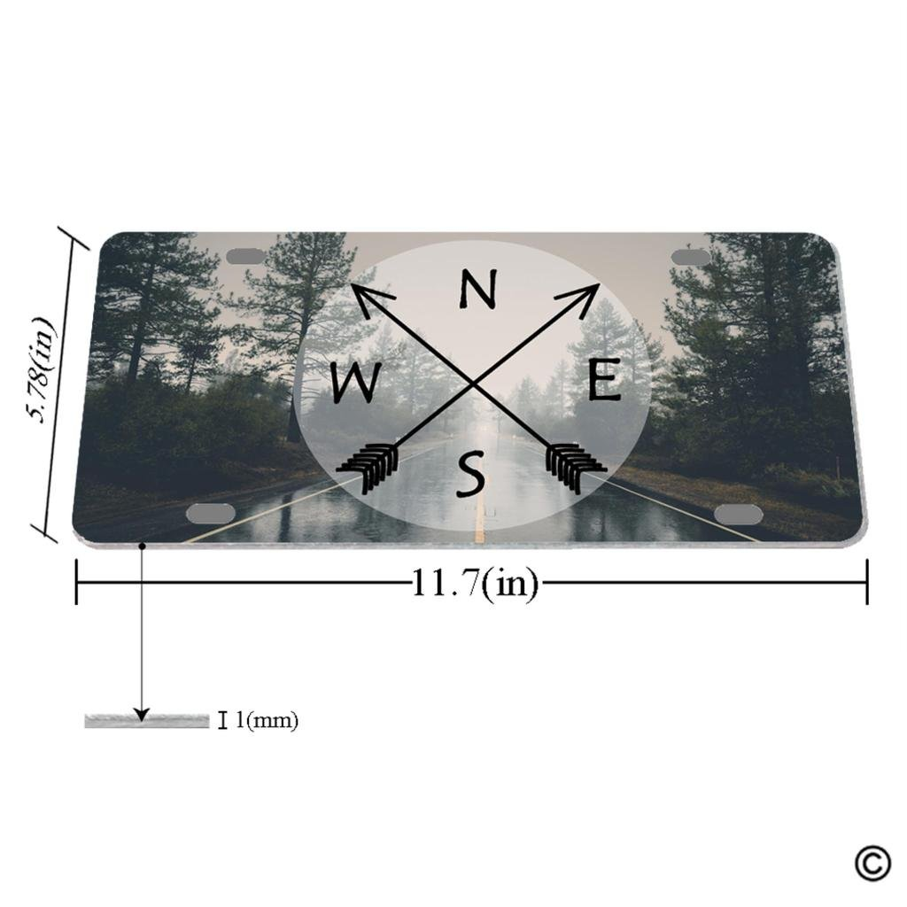 MsMr License Plate Cover with 4 Holes Nature Forest Trees Arrow Designed Decorative Metal Car License Plate Auto Tag