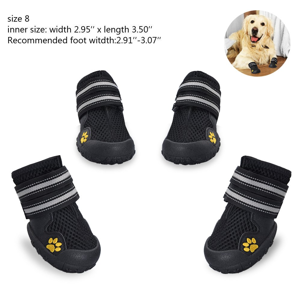 okdeals Dog Boots Waterproof Pet Mesh Shoes Breathable Dog Shoes Paw Protectors with Reflective Velcro and Rugged Anti-Slip Sole (8, Black)