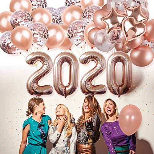 Theme Parties For New Years Eve (HAVII 2020 Party Balloons Kits - Rose Gold 40 Inch Number Foil Balloons 12 inch Confetti Balloons and Latex Balloons for Graduation New Years Eve Party Decorations Party)