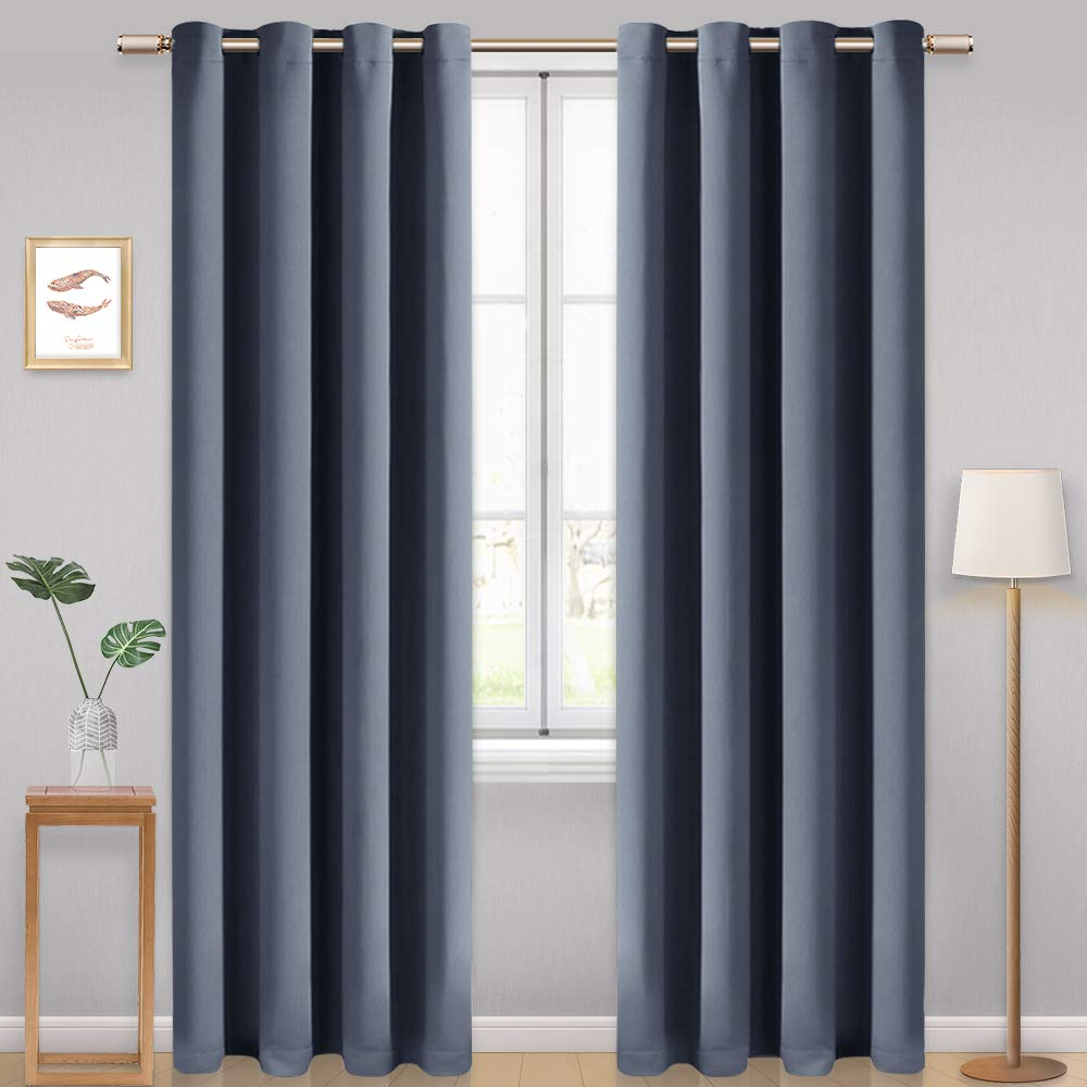 W46 x L54, Beige Living Room Dining Room Office AONBAT 2 Panels Blackout Eyelet Curtains Super Soft Thermal Insulated Window Treatment Grommets Drapes for Bedroom